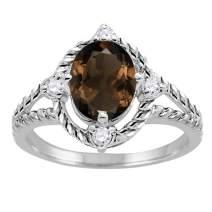 MauliJewels Rings for Women 1.87 Carat Smokey Quartz and Diamond Ring 4-prong 10K White Gold Gemstone Wedding Jewelry Collection