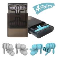 Earplugs for Sleeping Swimming,Concerts, Airplanes and More - Waterproof High Fidelity Silicone Ear Plugs for Hearing Protection and Noise Relief - Blue & Gray