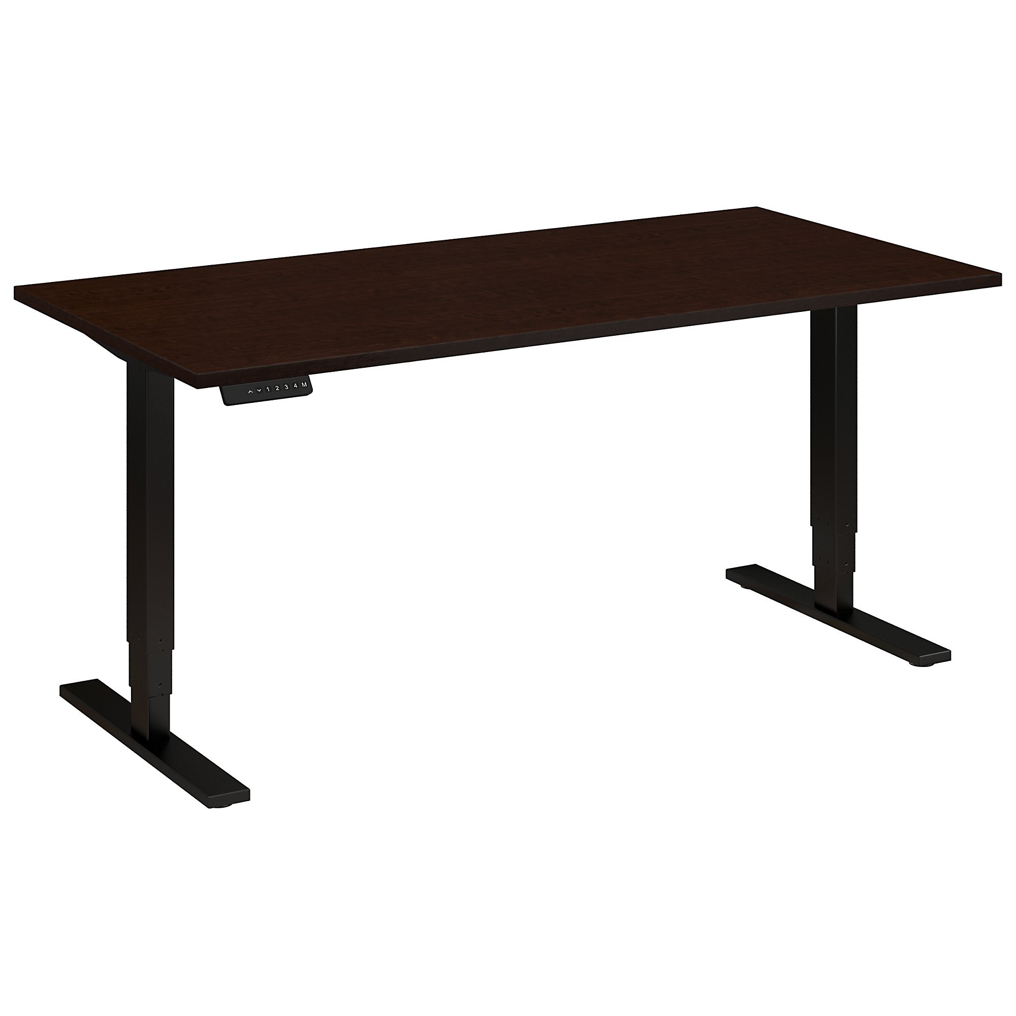 Move 80 Series 60W Height Adjustable Standing Desk in Mocha Cherry Satin with Black Base