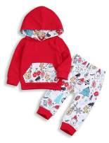 2pc Baby Winter Outfits Toddler Baby Boys Girls Cartoon Kangaroo Pockets Hoodie+Cute Printed Pants Clothes Set
