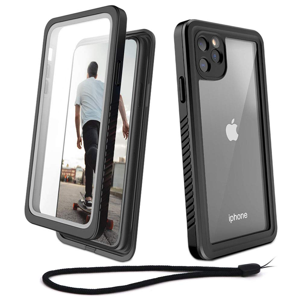 WIFORT iPhone 11 Pro Max Waterproof case, Full Body Sealed Built in Screen Protector, Rugged Snowproof Shockproof Dusproof Case with Impact Bumper for iPhone 11 Pro Max(2019, 6.5 inch), Black + Clear