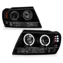 [For 1999-2004 Jeep Grand Cherokee] LED Halo Ring Black Smoke Projector Headlight Headlamp Assembly, Driver & Passenger Side