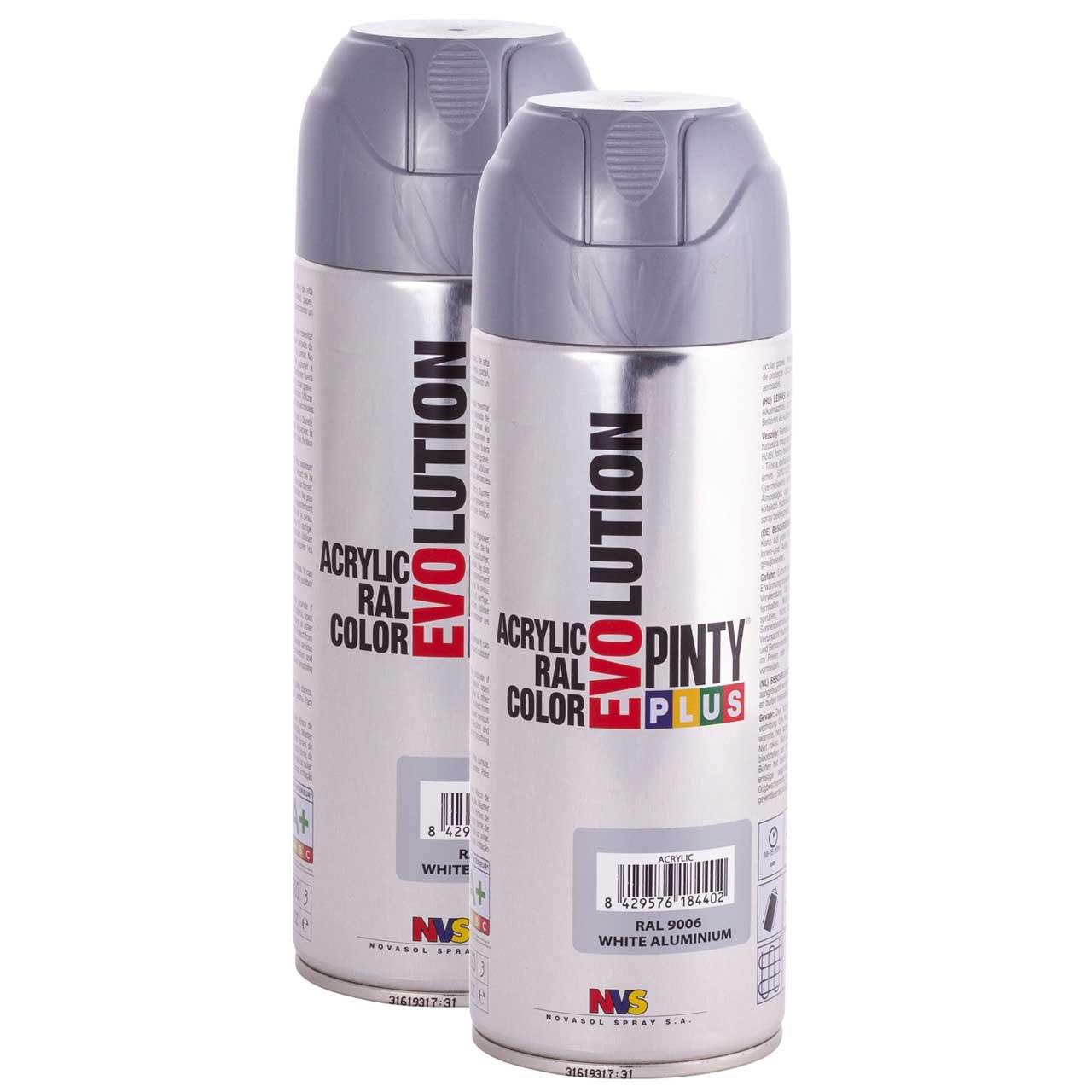 Fast Dry, Low Odor, Low VOC - Acrylic Spray Paint PintyPlus Evolution - Pack of 2 (White Aluminum)