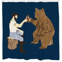 Sharp Shirter Cool Bear Shower Curtain Funny Beer Theme Awesome Woodland Decor for Mancave Bathroom Tree Art Hooks Included