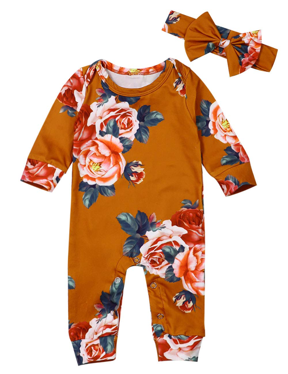 Newborn Baby Girl Romper Ruffle Floral Jumpsuit Long Sleeve Bodysuit Infant Outfit