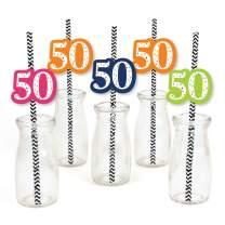 50th Birthday - Cheerful Happy Birthday - Paper Straw Decor - Colorful Fiftieth Birthday Party Striped Decorative Straws - Set of 24