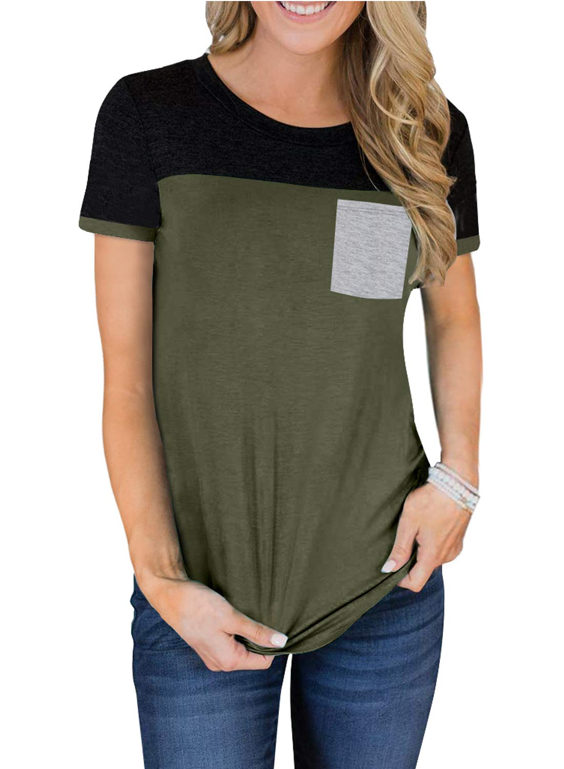 Aleumdr Women's Short Sleeve Crew Neck T Shirts Color Block Tops with Pocket S-XXL