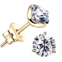 """STUNNING FLAME"" 18K Gold Plated Silver Brilliant Cut Simulated Diamond Cubic Zirconia Stud Earrings"