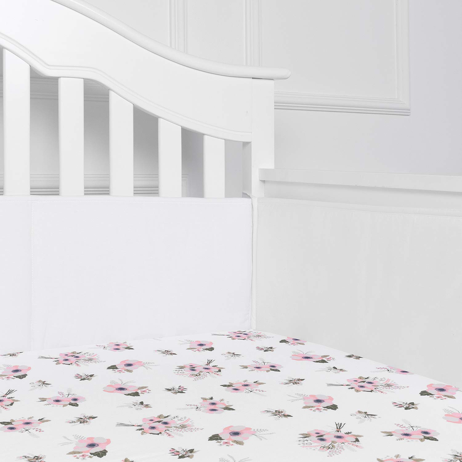 TILLYOU Cotton Collection Baby Safe Crib Bumper Pads for Standard Cribs Machine Washable Padded Crib Liner Thick Padding for Nursery Bed Safe Crib Guards Protector de Cuna, 4 Piece, White