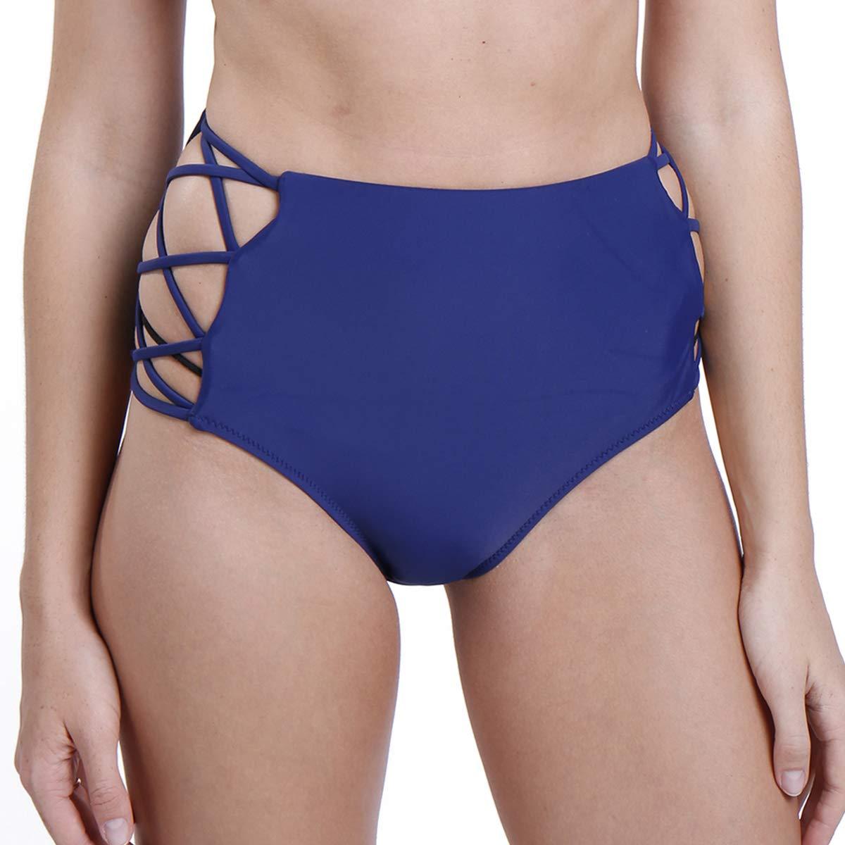 STARBILD Women Sexy High Waisted Bikini Bottoms Strappy Sides Retro Bathing Suit Underwear Swimsuit