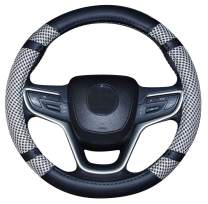 Mayco Bell Microfiber Leather and Viscose Universal Breathable Anti-Slip Odorless Steering Wheel Cover (14.5''-15'',Gray)