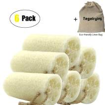 Loofah Sponge Exfoliating,6 Packs 100% Natural Loofa Large Back Scrubber for Men Women Bath Shower Body Skin Care Cleansing Luffa 5 inches Long