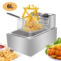 Electric Deep Fryer, Commercial Countertop Deep Fryer with Basket Stainless Steel 6L French Fry Restaurant Home Kitchen, 110V/2500W Max