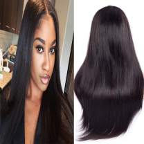 Ali Moda Brazilian Silky Straight Lace Front Wig With Pre-Plucked 150% Density Virgin Human Straight Hair Lace Frontal Wigs Nature Color With Baby Hair For Black Women 14 inch