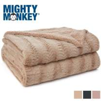 MIGHTY MONKEY Premium Pet Blanket, 32x24 Inch, Soft and Cozy Reversible Sherpa Throw Blankets for Pets, Warm Plush Material, Machine Washable, Non Shedding Cat, Dog Throws, Small Size, Soft Beige
