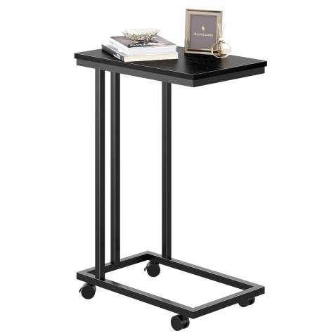 REYADE Snack Side Table, C Shaped Mobile End Table, Wood Accent Furniture with Metal Frame for Sofa Couch and Bed in Living Room or Bedroom, Black
