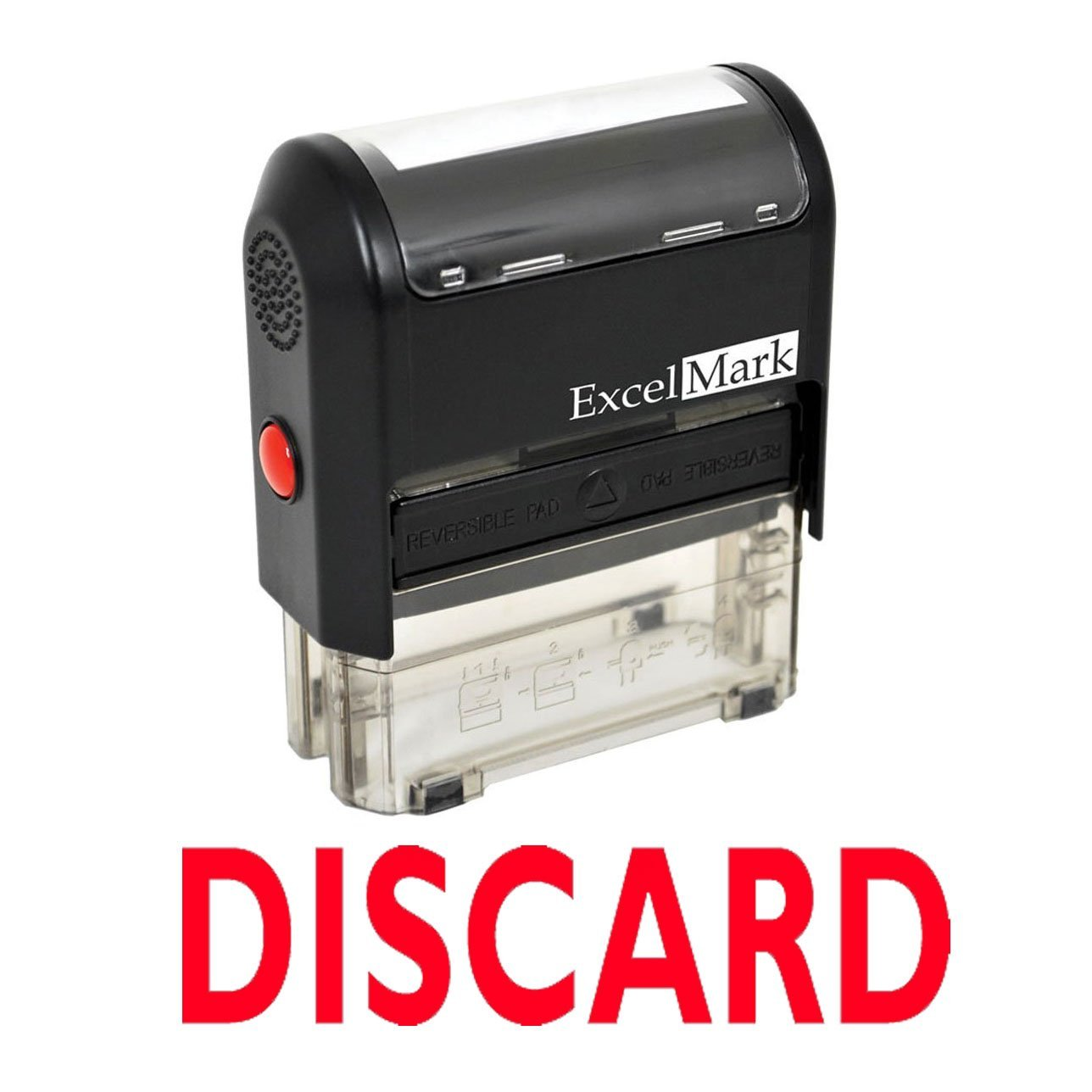 Discard Self Inking Rubber Stamp - Red Ink (ExcelMark A1539)