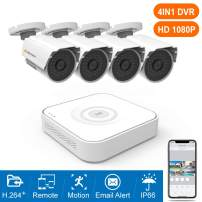 CCTV Security Camera System, Jennov 8CH 4-in-1 Home Video Surveillance DVR Kit CCTV Security System with 4pcs 1080P Outdoor Indoor Night Vision Cameras, Remote View, Motion Detection(No Hard Drive)
