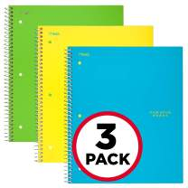 """Five Star Spiral Notebooks, 1 Subject, Graph Ruled Paper, 100 Sheets, 11"""" x 8-1/2"""", Teal, Yellow, Lime, 3 Pack (38629)"""