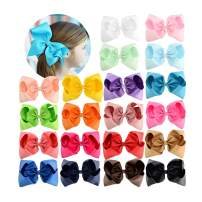 HLIN 20 Pcs 6 inch Grosgrain Ribbon Boutique Hair Bows Alligator Clips Hand Made for Girls Toddlers Kids
