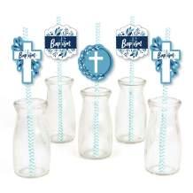 Baptism Blue Elegant Cross - Paper Straw Decor - Boy Religious Party Striped Decorative Straws - Set of 24