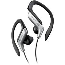 JVC Clip Style Headphone Silver and Black Lightweight and Comfortable Ear Clip. Splash Proof Water resistant Powerful Sound with Bass Boost HAEB75S