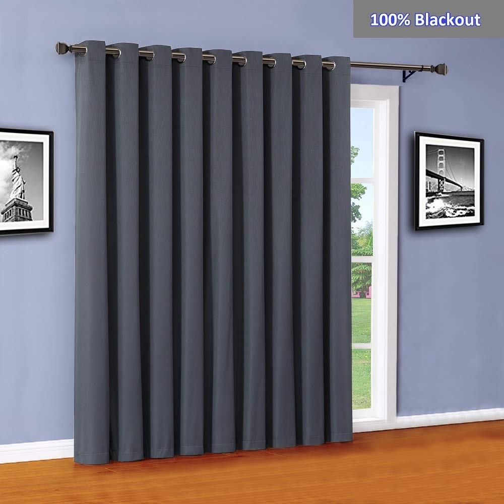 """Warm Home Designs Extra Long 110"""" x 96"""" Panel of Textured Charcoal Color 100% Blackout Insulated Patio Door Curtains. Use As Sliding Door Drape Or As Room Divider. MA Charcoal Patio 96"""