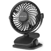 OPOLAR Extra-Quiet Clip on Stroller Fan, Rechargeable 2200mAh Battery Operated, 4 Speeds, 360 Degree Rotation, Personal Portable Small USB Clip Fan for Baby Crib/Office Desk/BBQ/Gym