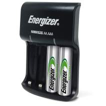 Energizer Recharge Basic Charger with 2 AA NiMH Rechargeable Batteries (Included) LED Indicator & Rechargeable AA Batteries, NiMH, 2000 mAh, Pre-Charged, 4 count (Recharge Universal)