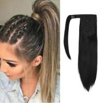 "SEIKEA Clip in Ponytail Extension Wrap Around Straight Hair for Women (12"", 12"" - Black)"