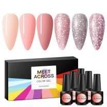 Gel Nail Polish Sets Glitter Pink Series 6 Colors Nail Art Gift Box UV LED Soak Off Nail Gel Kit 0.27 OZ 8ml