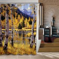 """ChadMade Fabric Waterproof Birch Forest Bathroom Shower Curtain in 72"""" W x 72"""" L with 12 Plastic Hooks"""