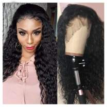 """360 Lace Frontal Wig, VIPbeauty 150% Density Glueless Brazilian Water Wave Human Hair Wet and Wavy 360 Lace Frontal Wigs Pre Plucked with Baby Hair for Black Women(22"""", Nature Color)"""
