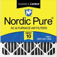 Nordic Pure 12x12x1 MERV 10 Pleated Plus Carbon AC Furnace Air Filters 12 Pack