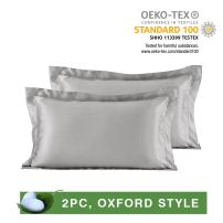LilySilk Pair of 19 Momme Oxford Silk Pillowcases for Hair 100 Real Mulberry Pure Mulberry Silk 2pcs Silvergray King 20x36