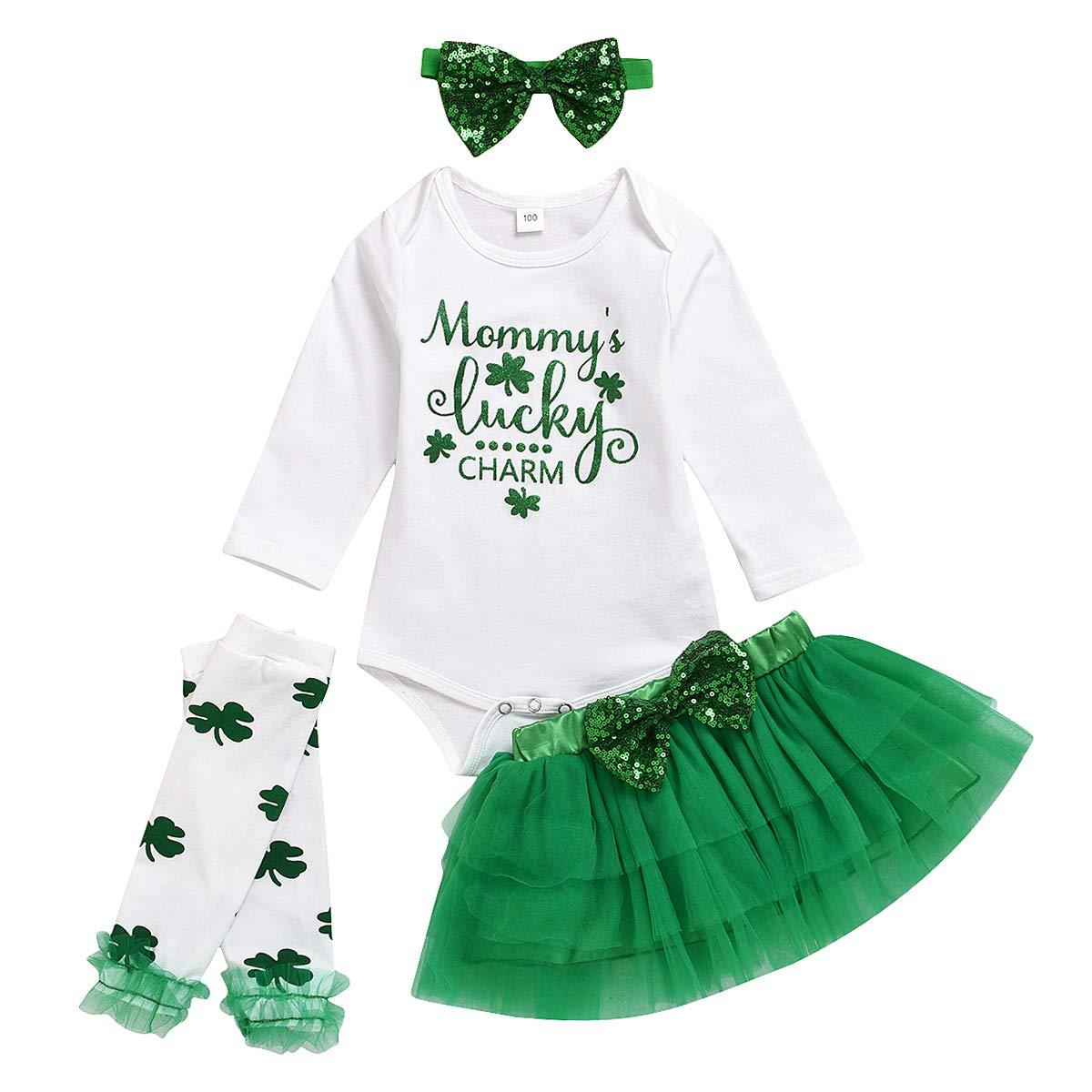 4PCS Newborn Baby Girl Clothes My 1st St.Patrick Day Outfits Romper+Bowtie Mesh Skirt+Leggings+Headband
