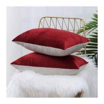 HPUK Pack of 2 Velvet Throw Pillow Cover Cozy Solid Pillowcase Decorative Cushion Cover for Couch Sofa Bedroom Office car, 12x20, Red, Reversible
