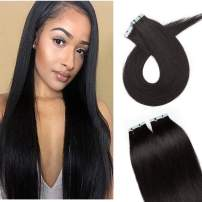 S-noilite 20Pcs 60g Remy Tape in Hair Extensions Human Hair Seamless Skin Weft Invisible Double Sided Glue in hair for women Silky Straight 16 Inch #01 Jet Black Color