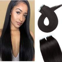 S-noilite 20Pcs 60g Remy Tape in Hair Extensions Human Hair Seamless Skin Weft Invisible Double Sided Glue in hair for women Silky Straight 24 Inch #01 Jet Black Color