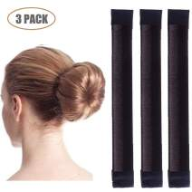 Aisonbo Magic Hair Bun Maker 3 PACK French Twist Donut Maker Easy Perfect Bun for Women Girls, DIY Hair Bun Making Hair Styling For Ballet, Wedding, Yoga, Dancing, Party (Dark Brown)