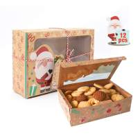 Christmas Kraft Cookie Boxes Baking Boxes with Window Food Bakery Boxes for Gift Giving Pastry Candy Packaging and Party Favors 12Pcs Treat Boxes with Ribbons and DIY Gift Tags (8.6''x6''x2.7'')