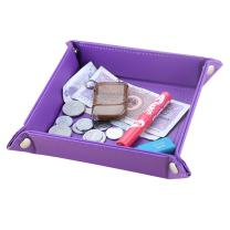 KINGFOM Leather Valet Tray, Desk Bedside Holder Tray for Key Phone Coin Change Watches and Candy, Catchall Jewelry Tray with Brass Snaps (Purple)