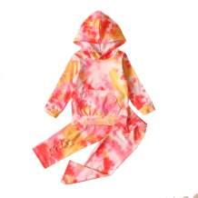 bilison Toddler Baby Girl Crop Clothes Long Sleeve Tie-dye Hoodies Sweatshirt Top+Long Pant Outfit Set
