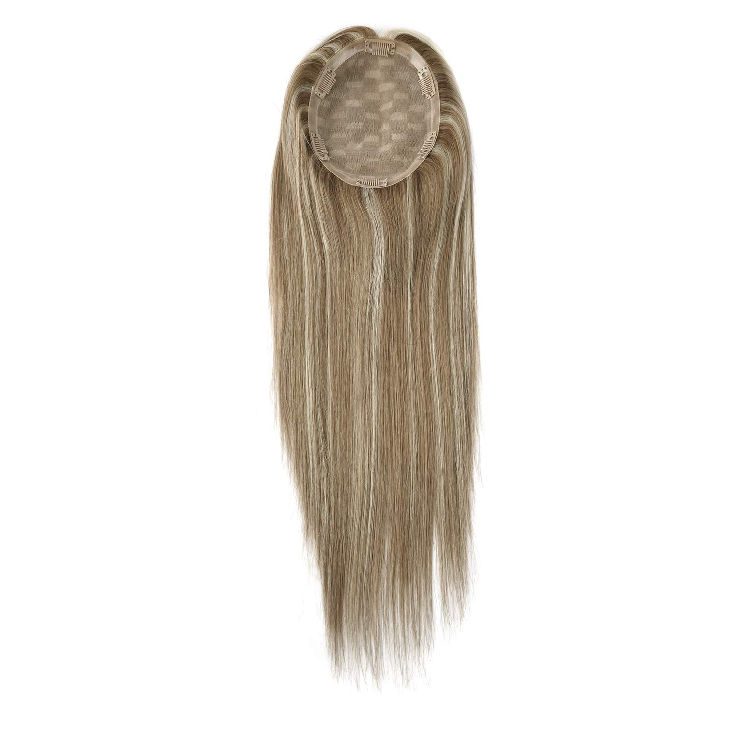 Neitsi 6inch X 7inch Silk Base Real Human Hair Topper for Women Top Hairpiece Clips Replacement Extensions for Hair Loss Thinning Hair (16inch, T6-8-22#)