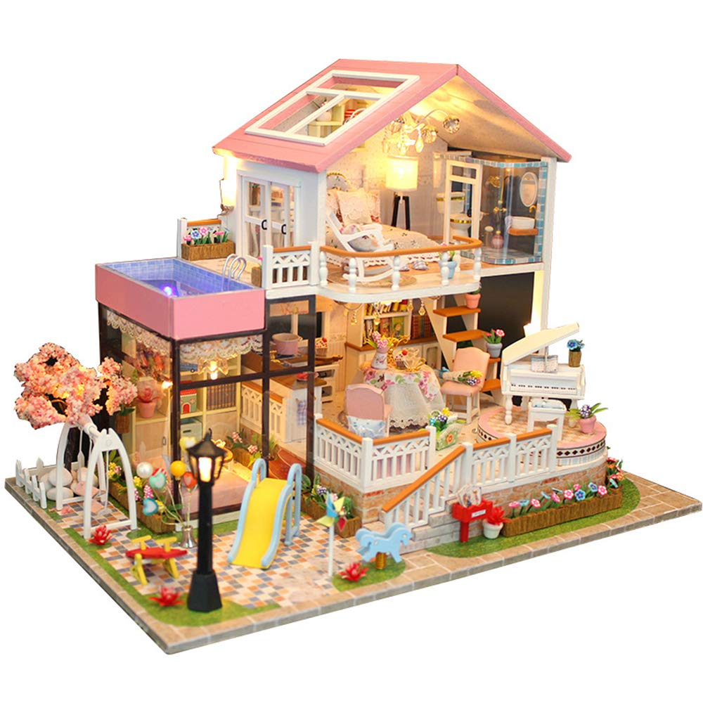 Spilay Dollhouse Miniature with Furniture,DIY Dollhouse Kit Mini Modern Villa Model with Music Box ,1:24 Scale Creative Best Christmas Birthday Gift for Lovers Boys and Girls(Sweet Words) 13846