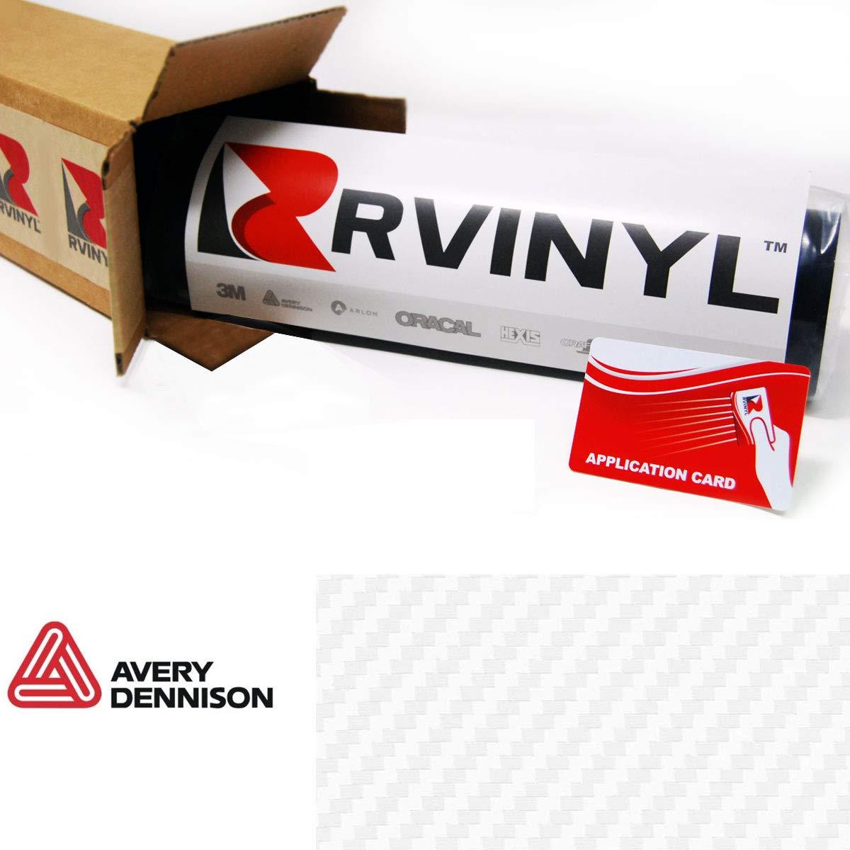 "Avery SW900 115-X White Carbon Fiber Supreme Wrapping Film Vinyl Vehicle Car Wrap Sheet Roll - (12"" x 60"" w/Application Card)"