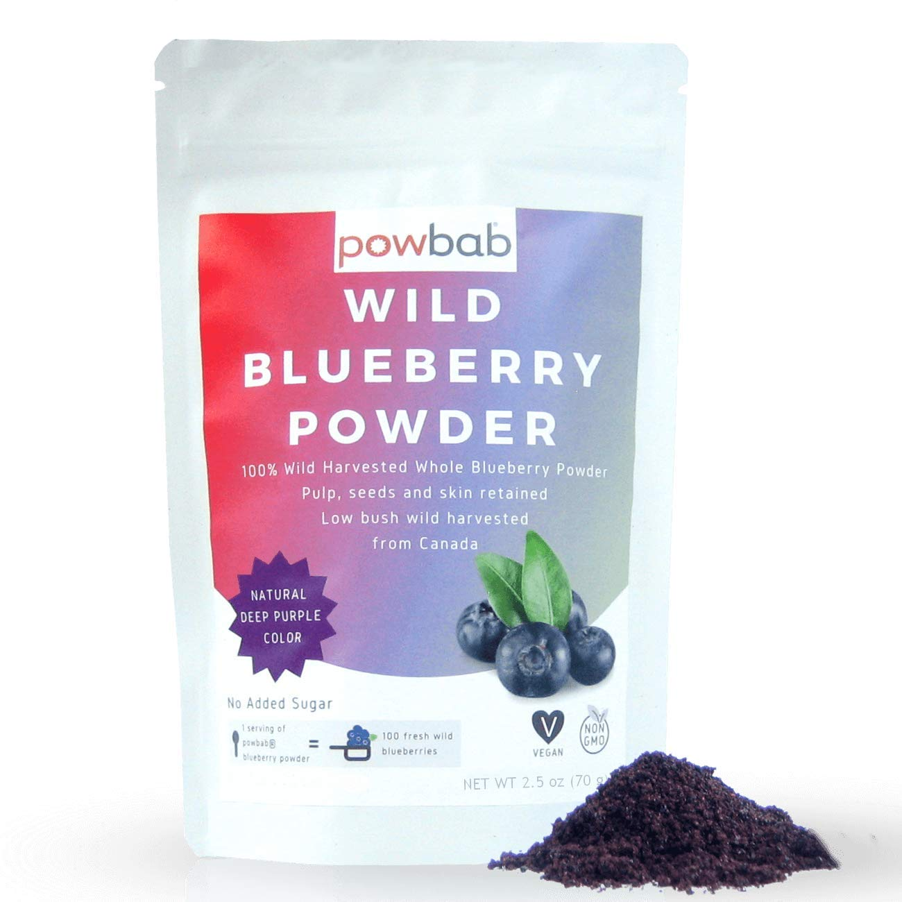 powbab Wild Blueberry Powder: 100% Whole Wild Blueberries (70 g). Not from Freeze Dried Blueberries, Not Blueberry Extract, No Juice Concentrate, Not Bilberry. Pure Fruit Powder, Non-GMO, Vegan