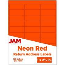 JAM PAPER Return Address Labels - Standard Mailing - 1 x 2 5/8 - Neon Deep Red/Orange - 120 Shipping Labels/Pack