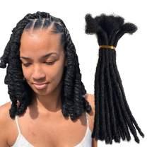 Distins 100% Human Hair Dreadlocks Handmade Locs Samll Size 0.4cm Width Pencil Size 20 per Bundles Natural Black #1B 8inch