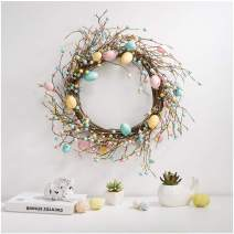 """Glitzhome 22"""" D Easter Eggs Wreath Spring Eggs & Berries Front Door Wall Decor Holiday Decoration"""